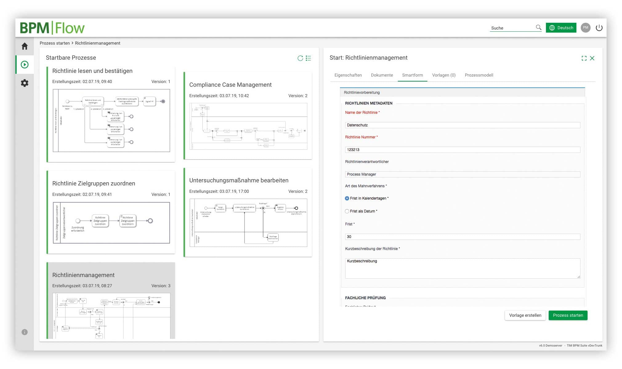 Aeneis-Screenshot: BPM|Flow Startbare Prozessse