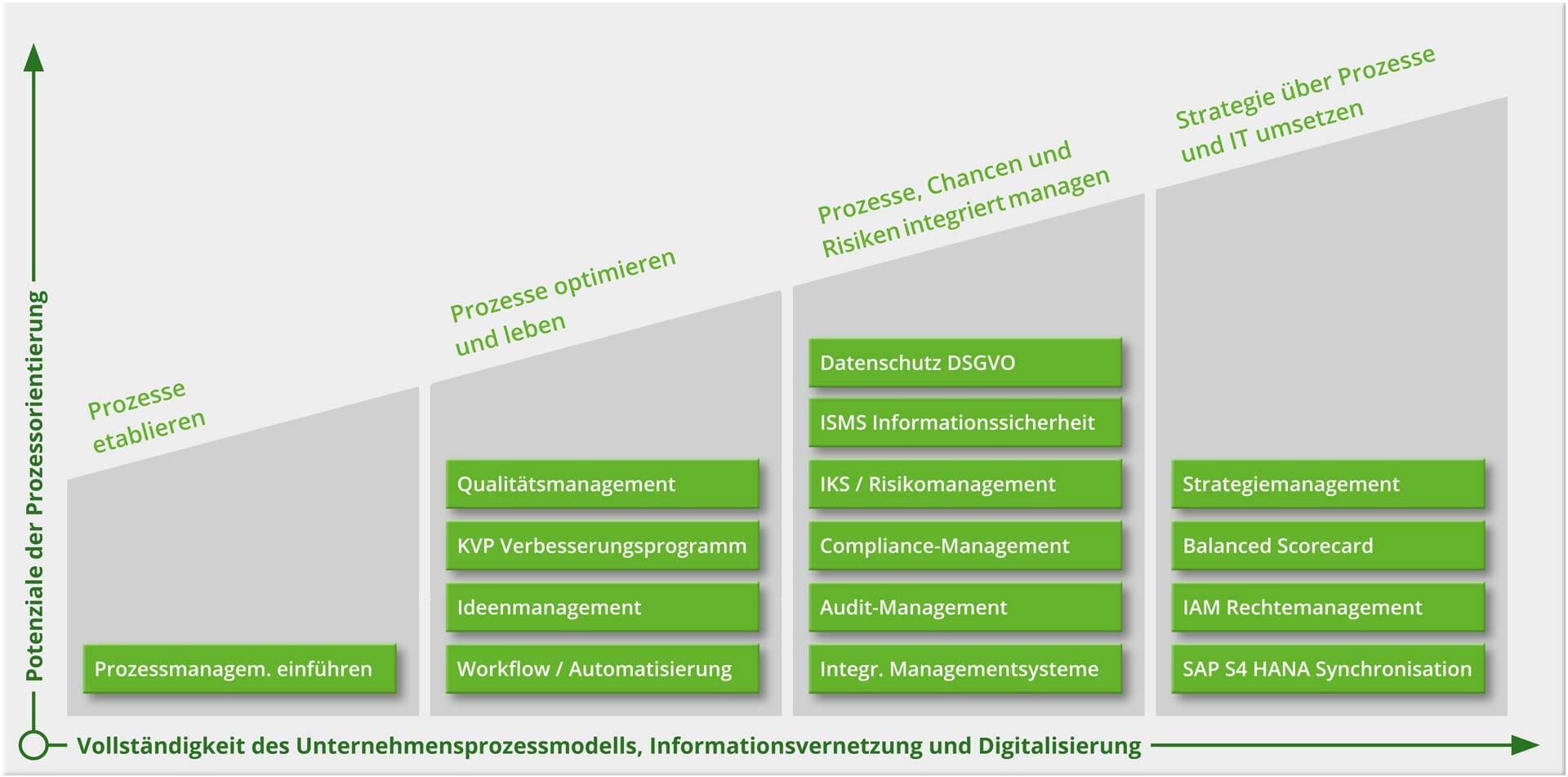 Grafik: Intellior-Beratungsansatz mit BPM-Einsatzszenarien
