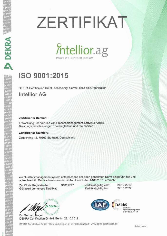 ISO 9001:2015 Zertifkat der Intellior AG